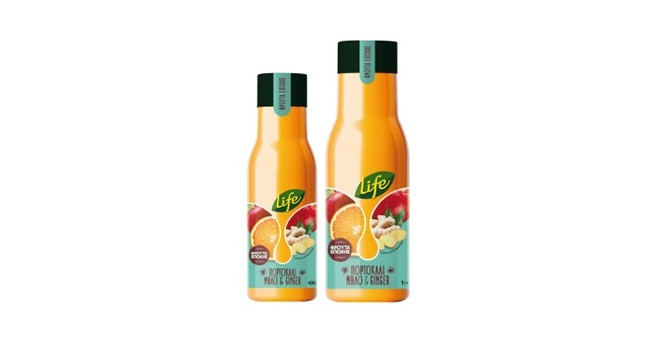 Νέος χυμός LIFE  Χυμός Πορτοκάλι-Μήλο-Τζίντζερ